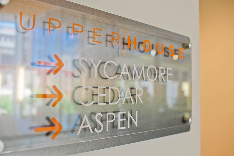 Upper|House directional sign